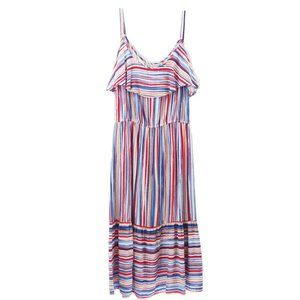 Rivers Women Striped Spaghetti-strap Ruffle Dress